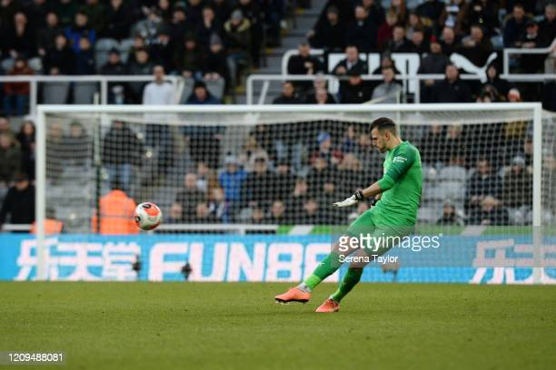 Newcastle United Goalkeeper Martin Dúbravka clears the ball during the Premier League match between Newcastle United and Burnley FC at St James Park...