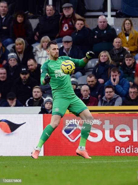 Newcastle United Goalkeeper Martin Dúbravka controls the ball during the Premier League match between Newcastle United and Norwich City at St James...