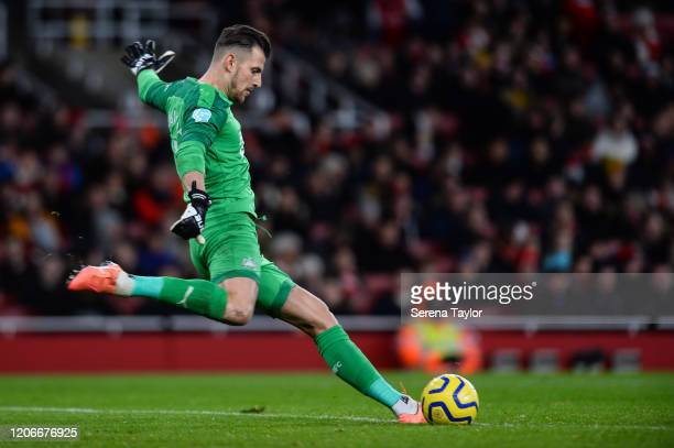Newcastle United Goalkeeper Martin Dúbravka kicks the ball into play during the Premier League match between Arsenal FC and Newcastle United at...