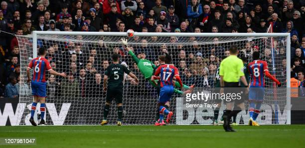 Newcastle United Goalkeeper Martin Dúbravka makes a flying save during the Premier League match between Crystal Palace and Newcastle United at...