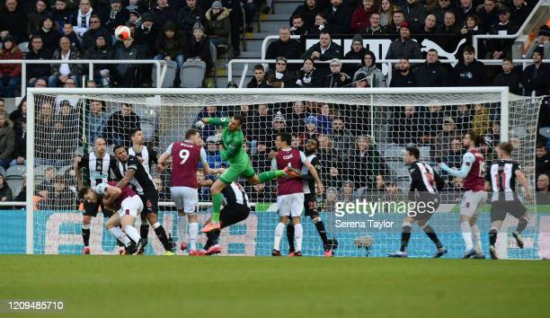 Newcastle United Goalkeeper Martin Dúbravka punches the ball clear during the Premier League match between Newcastle United and Burnley FC at St...