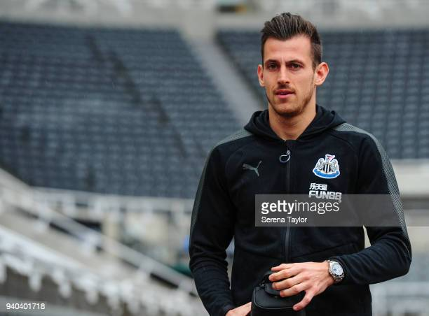 Newcastle United Goalkeeper Martin Dubravka arrives for the Premier League Match between Newcastle United and Huddersfield Town at StJames' Park on...