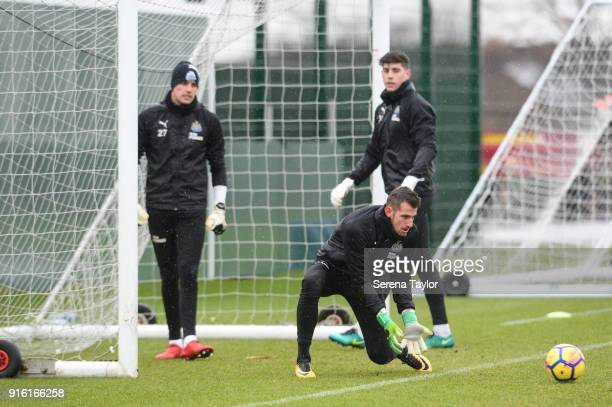 Newcastle United Goalkeeper Martin Dubravka catches the ball during the Newcastle United Training session at The Newcastle United Training Centre on...