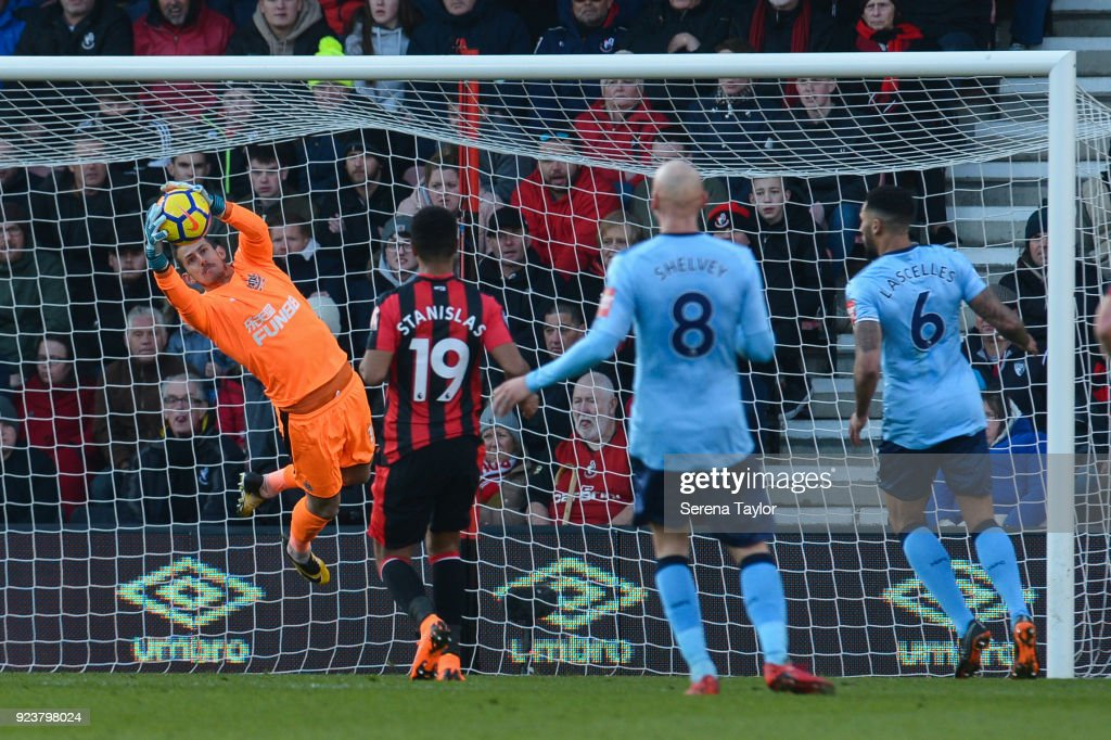 Newcastle United Goalkeeper Martin Dubravka (12) makes a flying save during the Premier League match between AFC Bournemouth and Newcastle United at Vitality Stadium on February 24, 2018, in Bournemouth, England.