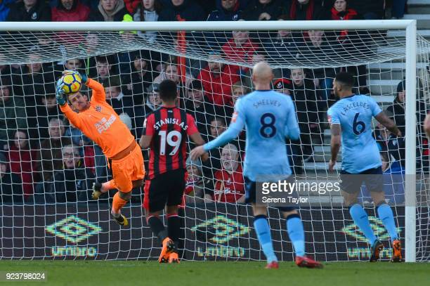 Newcastle United Goalkeeper Martin Dubravka makes a flying save during the Premier League match between AFC Bournemouth and Newcastle United at...