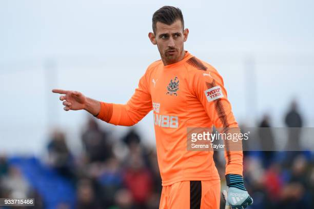 Newcastle United Goalkeeper Martin Dubravka points during the friendly match between Newcastle United and Royal Antwerp FC at Pinatar Arena on March...