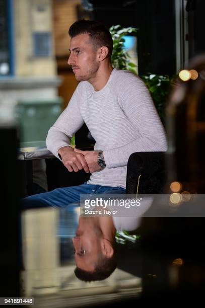 Newcastle United Goalkeeper Martin Dubravka poses for photographs during a Portrait Shoot at Babucho's Restaurant on March 14 in Newcastle upon Tyne...