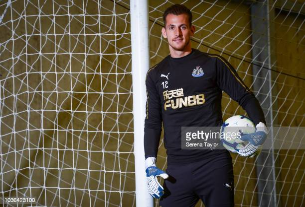 Newcastle United Goalkeeper Martin Dubravka poses for photos at the Newcastle United Training Centre on September 13 in Newcastle upon Tyne England
