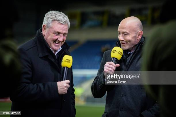 Newcastle United Head Coach Steve Bruce and Former Newcastle United footballer Alan Shearer speak on BBC Sport during the FA Cup Fourth Round Replay...