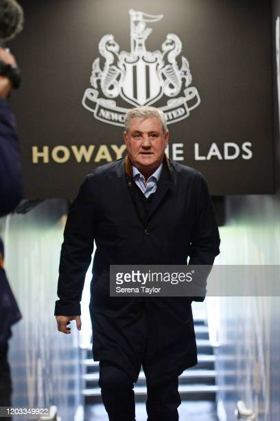Newcastle United Head Coach Steve Bruce arrives for the Premier League match between Newcastle United and Norwich City at St. James Park on February...