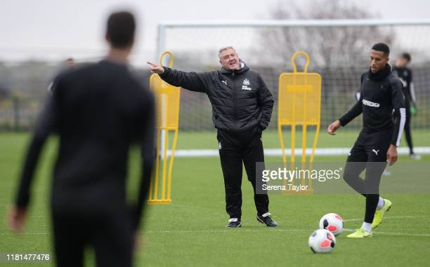 Newcastle United Head Coach Steve Bruce points during the Newcastle United Training Session at the Newcastle United Training Centre on October 16...
