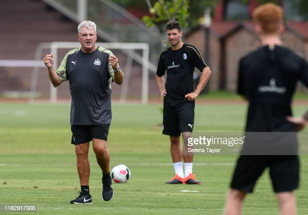 Newcastle United Head Coach Steve Bruce speaks to his players during the Newcastle United Training Session at the Wellington College on July 19, 2019...