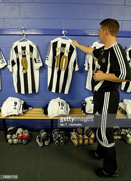 Newcastle United kit man Ray Thompson lays out the kit including that of Michael Owen 1 year and 1 day since he last played for Newcastle before the...