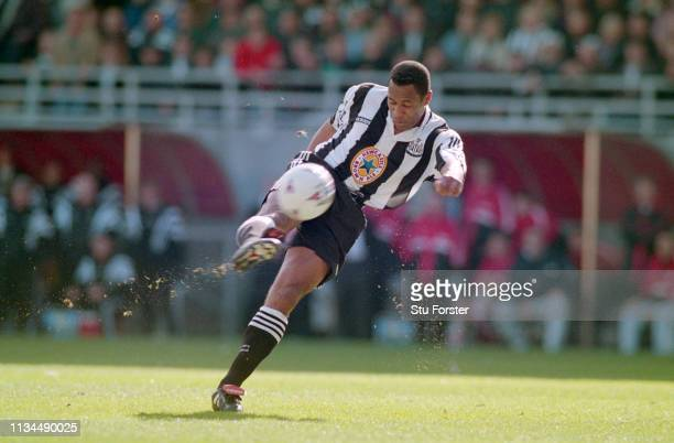 Newcastle United Les Ferdinand of Newcastle United shoots at goal during a FA Premier League match against Sunderland at St James' Park on April 5th,...