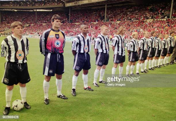 Newcastle United line up before the 1996 FA Charity Shield against Manchester United at Wembley Stadium on August 12 from left to right captain Peter...