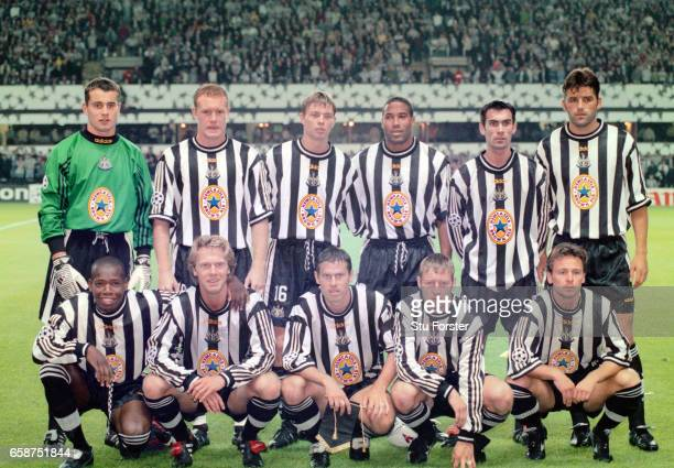 Newcastle United line up before their UEFA Champions League Group C match against FC Barcelona at St James' Park on September 17 1997 in Newcastle...