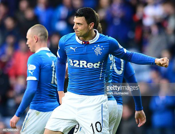 Newcastle United loan player Haris Vuckic of Rangers celebrates scoring in the second half of the William Hill Scottish Cup Fifth Round match between...