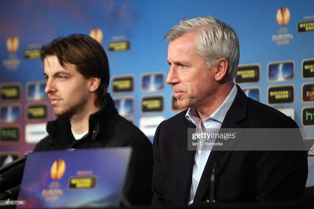 Newcastle United manager Alan Pardew (R) and goalkeeper Tim Krul attend a Press Conference at St James' Park on February 13, 2013 in Newcastle upon Tyne, England.