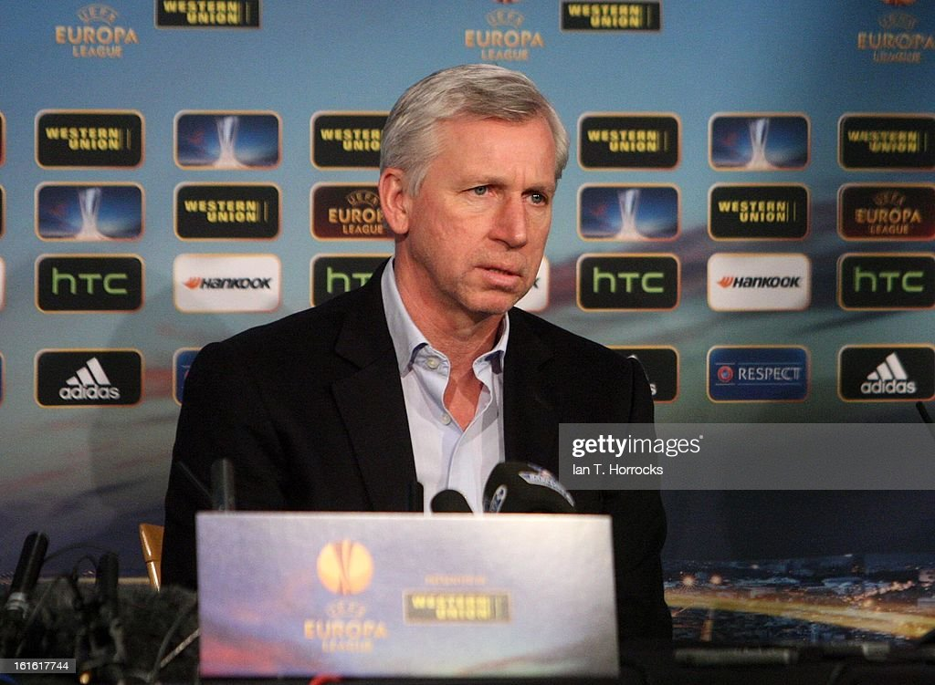 Newcastle United manager Alan Pardew attends a Press Conference at St James' Park on February 13, 2013 in Newcastle upon Tyne, England.