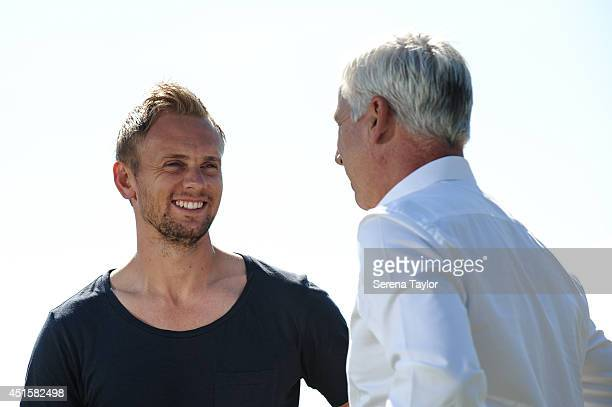 Newcastle United Manager Alan Pardew chats with New signing Siem de Jong outside at The Newcastle United Training Centre on July 01 2014 in Newcastle...
