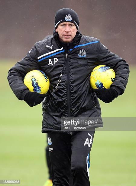 Newcastle United manager Alan Pardew during a Newcastle United Training Session at the Little Benton training ground on February 09 2012 in Newcastle...