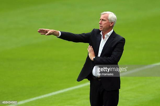 Newcastle United manager Alan Pardew gestures during a preseason friendly match between Newcastle United and Real Sociedad at St James' Park on...