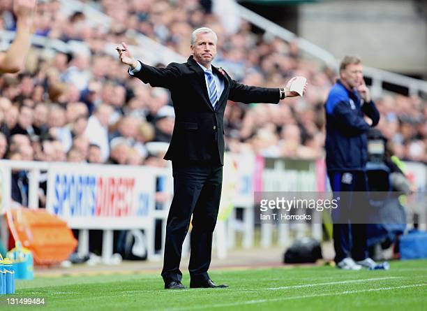 Newcastle United manager Alan Pardew gestures during the Barclays Premier League match between Newcastle United and Everton at St James' Park on...