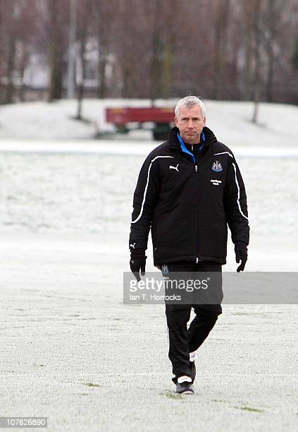 Newcastle United manager Alan Pardew looks on during a Newcastle United training session at the Little Benton training ground on December 16 in...