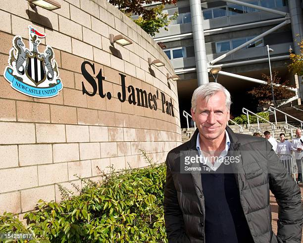 Newcastle United Manager Alan Pardew poses for photographs after the unveiling of the new St James' Park sign on October 17 in Newcastle upon Tyne...