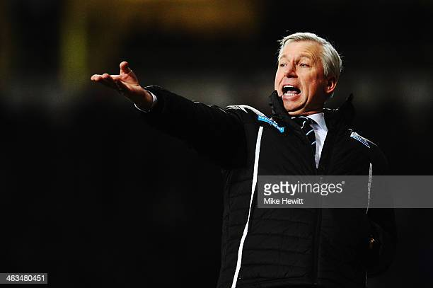 Newcastle United manager Alan Pardew shouts instructions from the touchline during the Barclays Premier League match between West Ham United and...