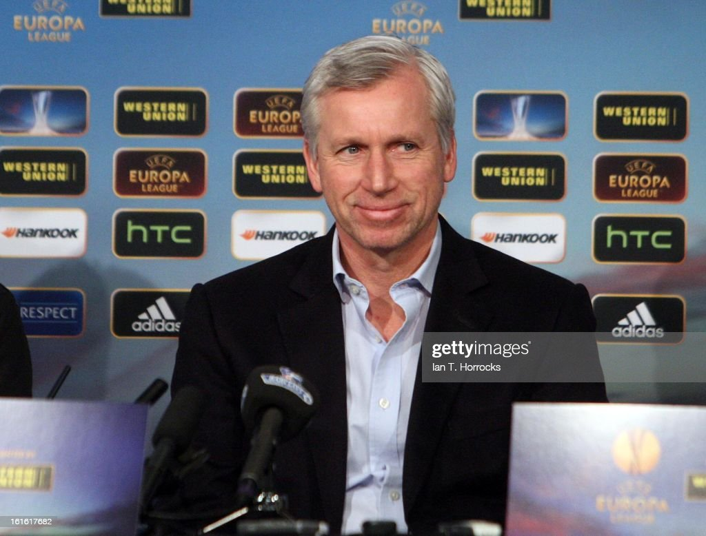 Newcastle United manager Alan Pardew smiles during a Press Conference at St James' Park on February 13, 2013 in Newcastle upon Tyne, England.