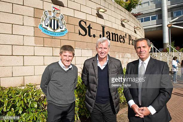 Newcastle United Manager Alan Pardew with past players Bob Moncur and Peter Beardsley after the unveiling of the new St James' Park sign on October...