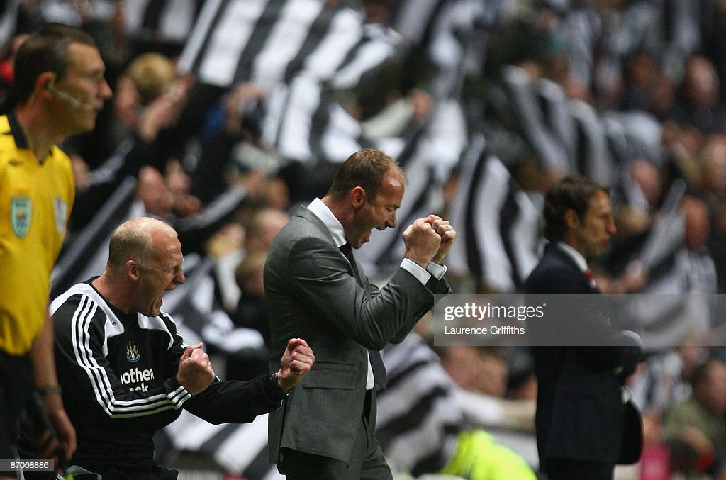 Newcastle United Manager Alan Shearer and his Assistant Iain Dowie (L) celebrate at the end of the Barclays Premier League match between Newcastle United and Middlesbrough at St James' Park on May 11, 2009 in Newcastle, England.
