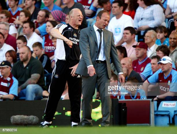 Newcastle United manager Alan Shearer and his assistant manager Iain Dowie react during the Barclays Premier League match between Aston Villa and...
