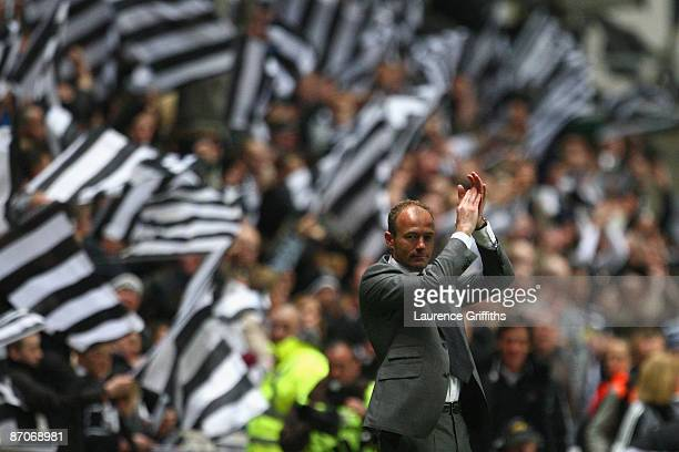 Newcastle United Manager Alan Shearer applauds at the end of the Barclays Premier League match between Newcastle United and Middlesbrough at St...