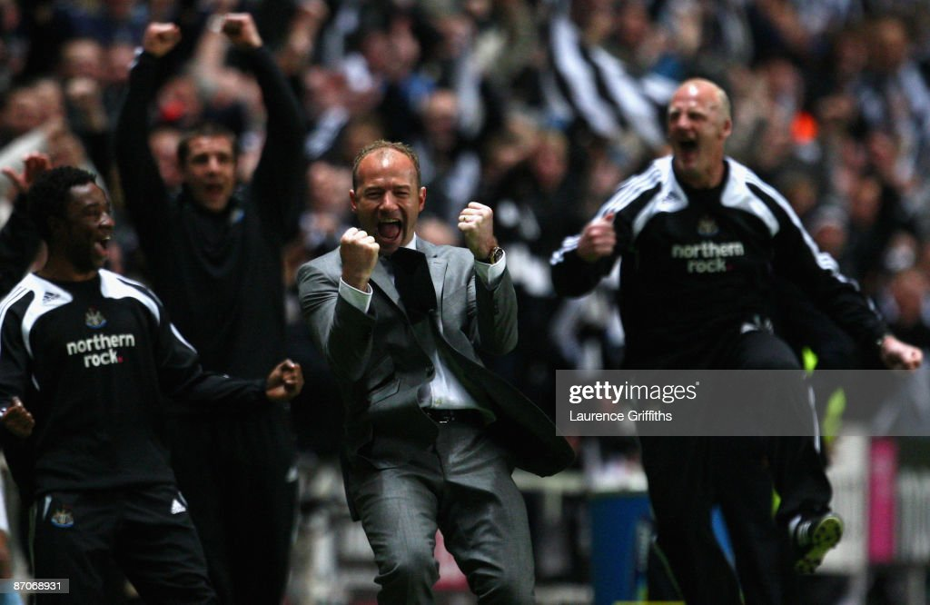 Newcastle United Manager Alan Shearer celebrates his team's third goal during the Barclays Premier League match between Newcastle United and Middlesbrough at St James' Park on May 11, 2009 in Newcastle, England.