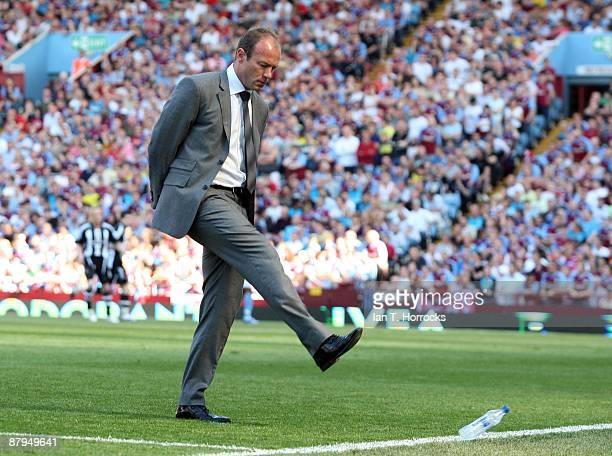 Newcastle United Manager Alan Shearer during the Barclays Premier League game between Aston Villa and Newcastle United at Villa Park on May 24 in...