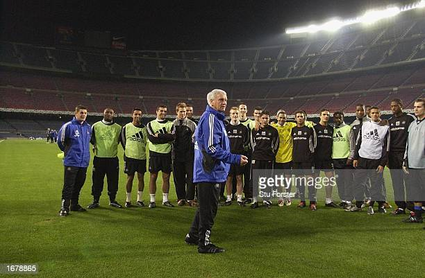 Newcastle United manager Bobby Robson talks to his players during the Newcastle United Champions League training session before the forthcoming match...