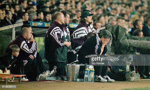Newcastle United manager Kevin Keegan holds his head in hands during the FA Carling Premiership match between Leeds United and Newcastle United at...