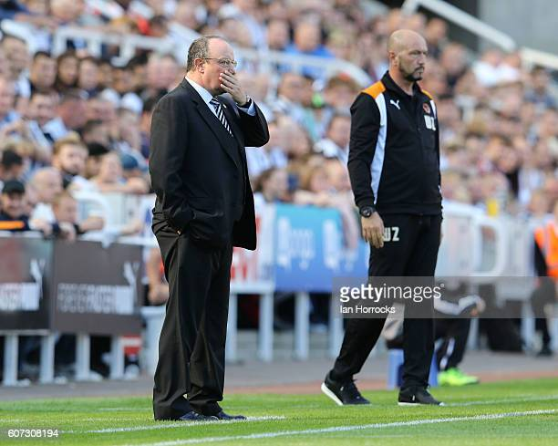 MatzNEWCASTLE UPON TYNE ENGLAND SEPTEMBER 17 Newcastle United manager Raf Benitez with Wolves manager Walter Zengaduring the Sky Bet Championship...
