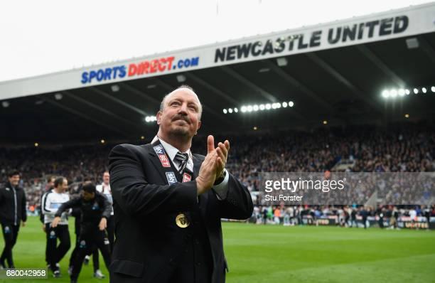 Newcastle United manager Rafa Benitez celebrates after winning the Sky Bet Championship Title after the match between Newcastle United and Barnsley...