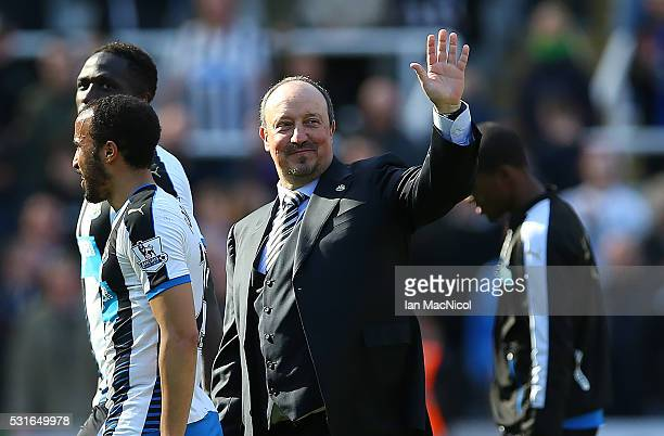 Newcastle United manager Rafa Benitez waves during the Barclays Premier League match between Newcastle United and Tottenham at St James Park on May...