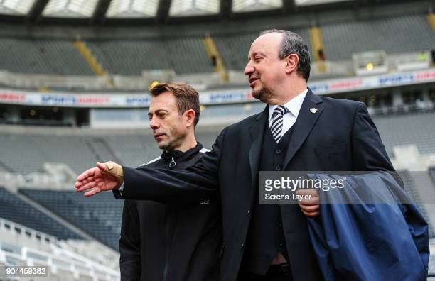 Newcastle United Manager Rafael Benitez and Newcastle United Assistant Manager Francisco De Miguel Moreno arrive for the Premier League match between...