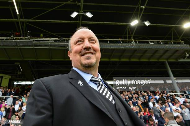 Newcastle United Manager Rafael Benitez during the Premier League match between Fulham FC and Newcastle United at Craven Cottage on May 12, 2019 in...