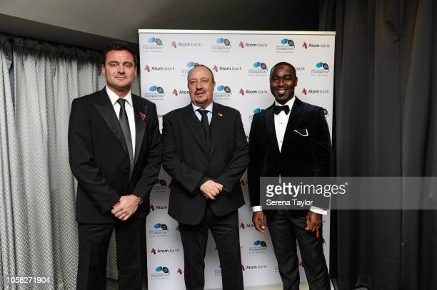 Newcastle United Manager Rafael Benitez poses for a photo with Steve Harper and Andrew Cole during the Newcastle United Foundation Dinner at StJames...