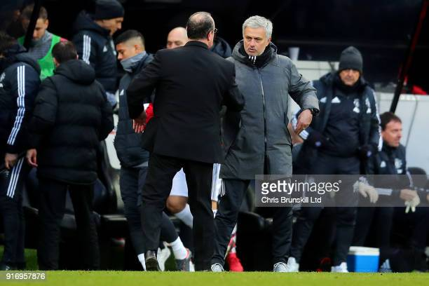 Newcastle United manager Rafael Benitez shakes hands with Manchester United manager Jose Mourinho following the Premier League match between...
