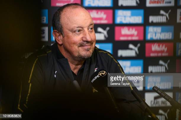 Newcastle United Manager Rafael Benitez speaks during the Newcastle United Press Conference pre Cardiff City at the Newcastle United Training Centre...