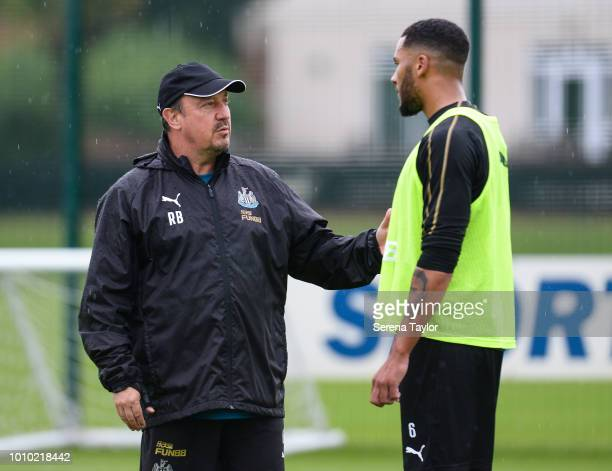 Newcastle United Manager Rafael Benitez speaks to Jamaal Lascelles during the Newcastle United Training Session at the Newcastle United Training...
