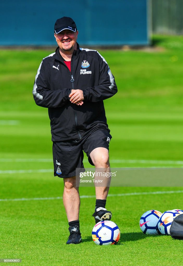 Newcastle United Manager Rafael Benitez stands on the ball during the Newcastle United Training Session at the Newcastle United Training Centre on May 8, 2018, in Newcastle upon Tyne, England.