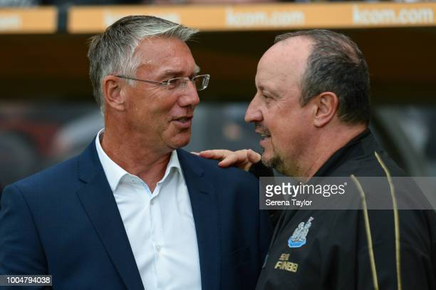 Newcastle United Manager Rafael Benitez talks to Hull City AFC Head Coach Nigel Adkins during the pre season friendly between Hull City and Newcastle...